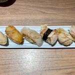 ワイン・寿司・天ぷら 魚が肴 - わたしのラインナップ。地味。