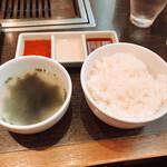 Yakiniku TAIGA - ご飯とスープ