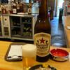 いづみや - 料理写真:ビンビール 大ビール+いづみや名代 もつ煮込み