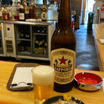 いづみや - ビンビール 大ビール+いづみや名代 もつ煮込み