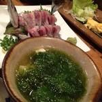 ぱやお - アーサ汁とサンマの刺身