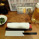 153701523 - セッティング(お通しと静岡麦酒)