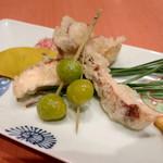 小料理 久原 - 松茸 と 銀杏の天ぷら