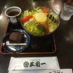 三国一 - サラダうどん+おはぎ