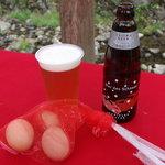 1538270 - ㊧但馬ビールピルスナー㊨瓶は但馬ビール かにビール各500円 温泉ゆで卵1個100円