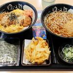 ゆで太郎 - 満腹かつ丼セット770円、焼きのり100円、クーポンかき揚げ
