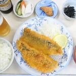 はまべ - 地魚フライ定食&ノンアルコールビール