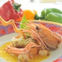 エリゼ光 - 秦野で収穫された赤ピーマンで作ったムース、長井漁港産、赤座海老添え