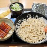ゆで太郎 - ミニうな丼セット(冷)880円、焼きのり100円、無料クーポンは海老天