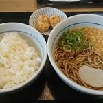 なか卯 - 朝そば竜田ライスセット