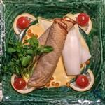 IZAKAYA混 - サーモンとクリームチーズの蕎麦クレープ包み