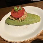 154091276 - Omelet(ケールとほうれん草のグリーンオムレツ ワッフルポテトとトマトコンフィ)