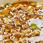 味仙 - 豚挽肉に韮と長葱とにんにくにたっぷりの唐辛子醤油スープ 辛旨でした