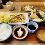 つけ汁家 安曇野 - 料理写真:「おろしポン酢天ぷら定食」1,200円税込み(冷たいお蕎麦)