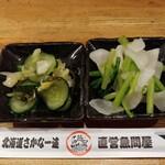 北海道さかな一途 直営魚問屋 - お通し 2人なので2種
