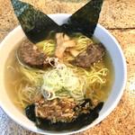 きくちひろき - 料理写真:鬼の顔した青鬼ラーメン。(塩味)750円 赤鬼ラーメン(醤油味)もあります。