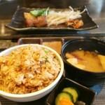 Teppanyakiebisu - ガーリックライス&味噌汁と香の物