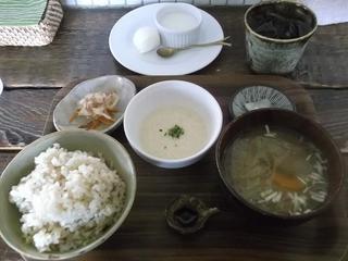 カフェこたつ - Aとろろセット(玄米・チキンの照り焼きサラダ仕立てのマヨソース・みそ汁・漬物)・小鉢)