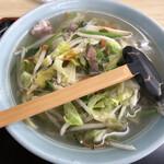 園食堂 - 料理写真:麺が見えませんが、想像以上に極太で驚きました。