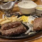 ブロンコビリー - 料理写真:炭焼き超粗挽きビーフハンバーグ& 炭焼きやわらかランチステーキ 370g 2068円