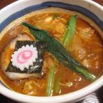 15433265 - ≪H24年09月≫白菜や人参などのキムチがたっぷり入った濃厚魚介豚骨つけ汁。