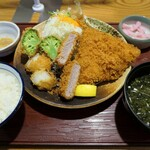 かつ敏 - (2021/6月)旬あじかつとヒレかつと野菜揚げ定食