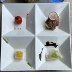 中華バルSAISAI。 - 前菜 プチトマトリキュールマリネ、 カツオのカルパッチョ、コーンと海老寄せ、水餃子