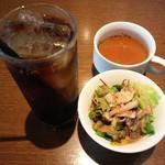 cafe GARDEN - パスタランチのセット(ドリンク、スープ、サラダ)