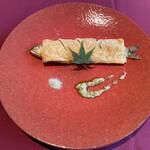 ル シノワ サノ イズミ - 岐阜県産鮎の湯葉包み焼き、青山椒風味
