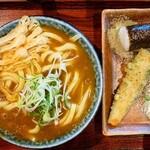 154447969 - カレーうどん、俵おにぎり、ちくわ天ぷら