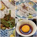 和食日和 おさけと - 松皮鯛(鯛に布巾などをかぶせ、上から皮目に熱湯をかけたらすぐに氷水で冷やしたもの)の下には海藻がたくさん。 海藻の粘りがご飯にとても合い美味しかったです。 甘めのタレに黄身をかき混ぜご飯にかけます。