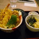富士見庵 - 天丼とミニたぬき蕎麦セット700円