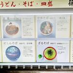 154493077 - ◎表の看板。一番人気は中華そば。皿盛も人気。