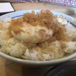 154496343 - 名物玉子天ぷらとご飯(初めからご飯に乗って提供)