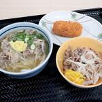 さぬきうどんの駅 綾川 - 肉うどん、牛丼、カニクリームコロッケ