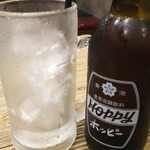 水炊き・焼き鳥 とりいちず酒場 - ホッピーセット。ジョッキの液体は、焼酎なのか、それとも氷が溶けただけか?