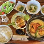 旬野菜とごはん ふくや - 魚と野菜の定食(¥880) ご飯は普通盛り。(大盛りも選べます)