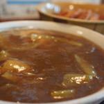 盧山 - 料理写真:カレーそば、味噌かつ丼