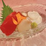別邸 竹の庵 - 造り:マグロ、真子カレイ、生タコ炙り