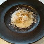 レストラン ペルージュ - 前菜 三河赤鶏のエフィロシェ、ジャガイモのクリームとコンソメジュレ、フォアグラのパウダーとサマートリュフ添え
