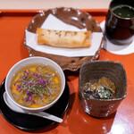 松見坂 小林 - 冷やし茶碗蒸し 秋田県じゅん菜  赤こごみの胡麻和え 酢のジュレ  新玉ねぎの春巻き