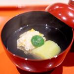 松見坂 小林 - 生湯葉ととうもろこしの真薯 京都の久世茄子