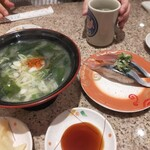 回転寿しトリトン - 料理写真:ワカメの味噌汁、サンマ、スポンサー