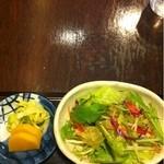 なみき庵 - サラダにお新香