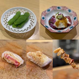 鮨 まつ本 - 料理写真:枝豆、鰹とろろコノワタ、真鯛、ホッキ貝、ホッキ貝ひも