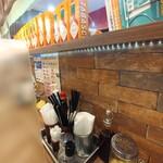 ナポリタン&ミートソース専門店 ちゃっぷまん - ずらっと並んだ缶ビールサイズのタバスコ