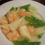 源烹輪 麺篠居士 - 茹で海老とセロリ・えんどう豆の山椒香り塩サラダ