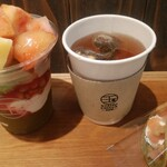 154805051 - 桃パフェ[抹茶]、バレンシアオレンジほうじ茶、桃どら もも羹タルト