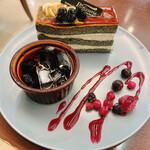 京都小川珈琲 - 料理写真:黒蜜きな粉の竹炭ケーキ