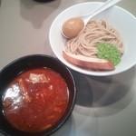 海老トマトつけ麺¥850 +麺少なめ→味玉サービス
